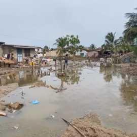 Hochwasser in Teshie, Accra im Juni 2021